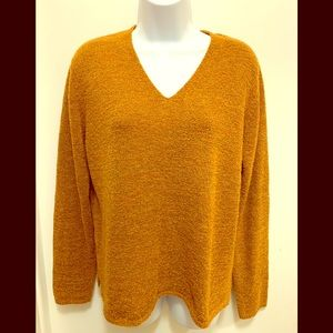 Eileen Fisher V-Neck Sweater Top Size L Color Rust